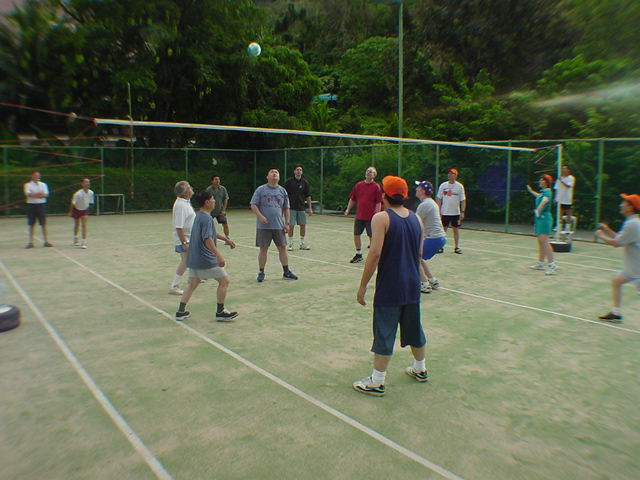 Coaches and Brad Sugars playing Volleyball on their first ever Global Conference on Phuket, Thailand (2000).