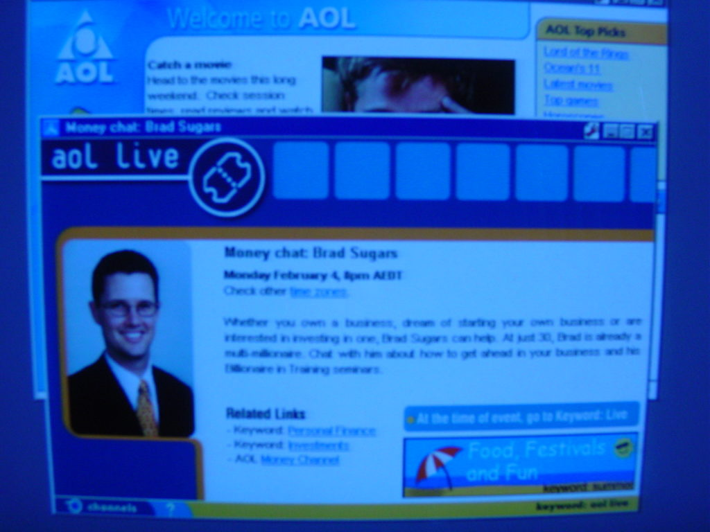 "Brad's first online presence for the business used AOL's ""Live Profile""."